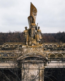 Decorative sculpturemonument on an old abandoned  floodgate structure Krasnodar Reservoir in Adygea Russia