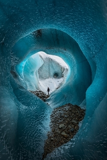 Deep Chill An incredible ice cave on the Torre Glacier in Los Glaciers National Park Argentina  Photo by Andrew Waddington