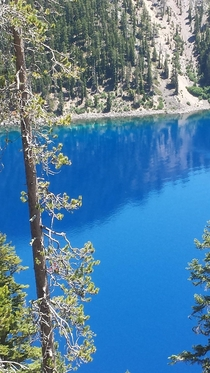 Deep clean water of Crater Lake Oregon on a sunny day