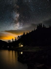 Deep in the Cascade mountains sits a lake with a lovely little Cabin overlooking Late summer I found myself there chasing the Milky Way in the suffocating darkness