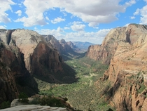 Definitely worth the strenuous hikeview from the summit of Angels Landing at Zion National Park Utah
