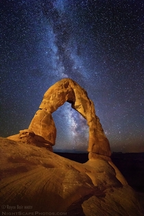 Delicate Arch and the Milky Way I did the lighting