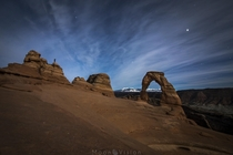 Delicate Arch illuminated by Grandmother Moon