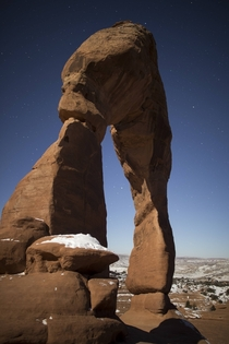 Delicate Arch illuminated by the moon