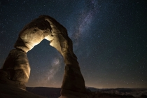 Delicate Arch on a Clear Night