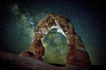 Delicate Arch under the Milky Way Moab Utah