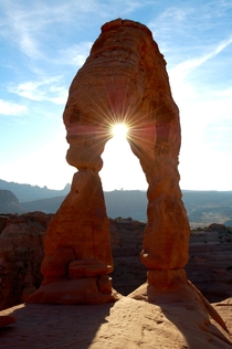 Delicate Arch with sunburst