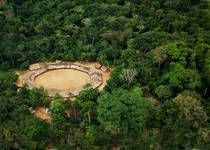Demini a typically circular Yanomami settlement in Brazil