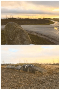 Denmark is full of old German WW bunkers many of them are forgotten and untouched Heres one in an muddy field it was used for radio communication It has sunk into the ground and probably hasnt been entered for decades