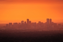 Denver skyline this weekend with  major wildfires nearby