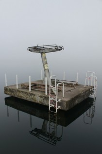 Derelict diving board in a former communist youth camp Werbellinsee Brandenburg Germany