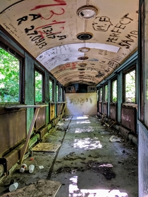 Derelict passenger train car - Childrens Railway Yerevan Armenia