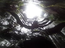Descending into a cave system - England Yorkshire