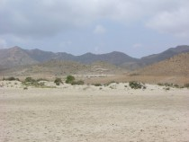 Desert from El Mnsul beach Cabo De Gata National Park Almeria Spain