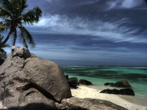 Deserted beach Anse Source dArgent  Seychelles