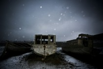 Deserted boats in Barrow Alaska
