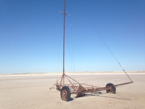 Deserted land yacht on a dry salt lake