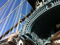 Detail Manhattan Bridge East River New York NY