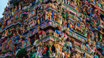 Detail of the main gopuram of Kapaleeshwarar Temple Mylapore India The origins of this temple can be traced back to the th century AD The current structure was built in the late th or early th century after the older temple was demolished by Portuguese se