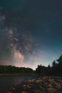 Details in the Darkness The Milky Way rises after a stunning sunset in Acadia National Park ME