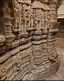 Details of the intricately carved temple in Jaisalmer Fort Rajasthan India