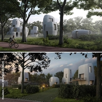 Developed by the Eindhoven University of Technology these D printed houses look like something youd find on an alien world