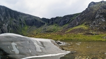 Devils Kitchen seen from Llyn Idwal in the Ogwen Valley Snowdonia North Wales