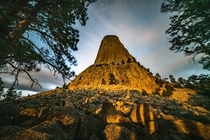 Devils Tower Bears Lodge at night