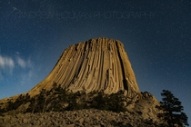 Devils Tower by Moonlight Wyoming