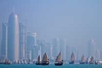 Dhows in a bay in Doha Qatar