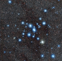 Diamonds in the Tail of the Scorpion NGC  a brilliant cluster of about  stars located some  light-years from Earth
