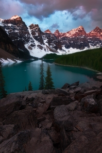 Did the thing that every landscape photographer has to do when in Banff and I went to Moraine Lake for a wonderful sunrise Anyone else just love the BanffJasper region of Alberta Great landscapes great people