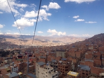 Different perspective of La Paz Bolivia from a gondola above the city