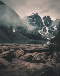 Different perspective of Moraine Lake in Banff AB