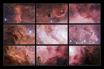 Different sections of the Lagoon Nebula as observed by the VLT Survey Telescope