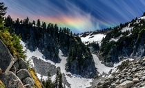 Difficult hike with child in tow was rewarded with an epic rainbow at the end Unicorn Peak Mt Rainier National Park WA