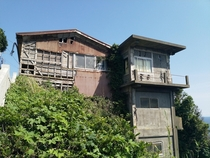 Dilapidated cliffside building dont know what purpose it served in Enoshima Japan
