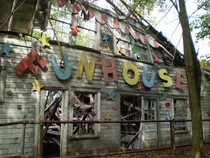 Dilapidated Funhouse at an old amusement park Chippewa Lake Ohio