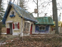 Dilapidated Three bears cottage in an abandoned amusement park