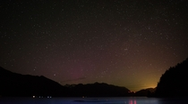 Dim aurora borealis over north of Vancouver