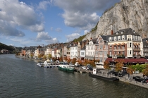 Dinant Belgium on the embankment of the Meuse River