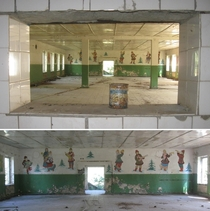 Dining hall in a former Soviet Army base Brandenburg Germany