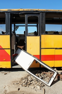 Discarded school bus in Austria