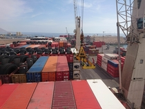 Discharging containers in Iquique Chile