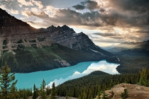 Distant Light Beam at Peyto Lake Banff Canada by Chung Hu
