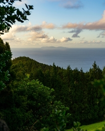 Distant view of the Graciosa island from a trail in Terceira Azores  m_a_russo