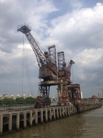 Disused dock cranes in Battersea London x