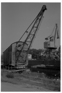 Disused harbour crane on mm film