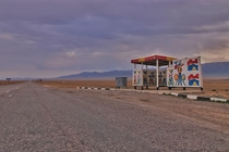 Disused Soviet bus stop on a lonely Kazakh road