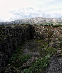 Divergent plate boundary in the north of ingvallavatn Iceland
